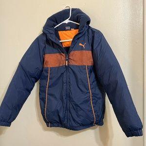 Puma Boys Youth Blue Orange Puffer Jacket Coat M16